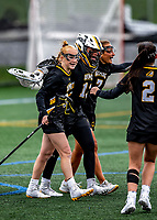 17 April 2021: Members of the UMBC Retrievers celebrate a win against the University of Vermont Catamounts at Virtue Field in Burlington, Vermont. The Catamounts fell to the Retrievers 11-8 in the America East Women's Lacrosse matchup. Mandatory Credit: Ed Wolfstein Photo *** RAW (NEF) Image File Available ***