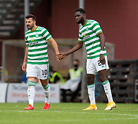 22nd August 2020; Tannadice Park, Dundee, Scotland; Scottish Premiership Football, Dundee United versus Celtic; Albian Ajeti of Celtic is congratulated after scoring for 0-1 by Odsonne Edouard