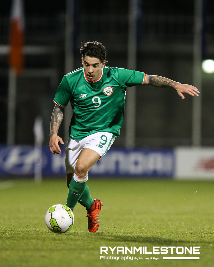 Republic of Ireland's Reece Grego-Cox during the 2019 UEFA Under 21 European Qualifying Round between the Republic of Ireland and Azerbaijan on Tuesday 27th March 2018 at Tallaght Stadium, Dublin. Photo By Michael P Ryan