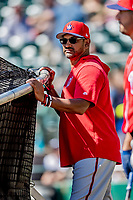 25 February 2019: Washington Nationals Manager Dave Martinez watches his team at the batting cage prior to a pre-season Spring Training game against the Atlanta Braves at Champion Stadium in the ESPN Wide World of Sports Complex in Kissimmee, Florida. The Braves defeated the Nationals 9-4 in Grapefruit League play in what will be the Braves' last season at the Disney / ESPN Wide World of Sports complex. Mandatory Credit: Ed Wolfstein Photo *** RAW (NEF) Image File Available ***