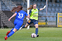 Goalkeeper Lisa Vandeputte (1) of Eendracht Aalst pictured during a female soccer game between Eendracht Aalst and Racing Genk on the 10 th and last matchday of play off 2 of the 2020 - 2021 season of Belgian Scooore Womens Super League , Saturday 29 st of May 2021  in Aalst , Belgium . PHOTO SPORTPIX.BE | SPP | STIJN AUDOOREN