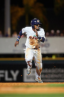 Fort Myers Miracle catcher Brian Navarreto (23) running the bases during a game against the Bradenton Marauders on April 9, 2016 at McKechnie Field in Bradenton, Florida.  Fort Myers defeated Bradenton 5-1.  (Mike Janes/Four Seam Images)