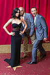 © Licensed to London News Pictures . 16/05/2015 .  The Palace Hotel , Manchester , UK . Fiona Wade , Bhasker Patel and Chris Bisson . The red carpet at the 2015 British Soap Awards , The Palace Hotel , Oxford Road , Manchester . Photo credit : Joel Goodman/LNP