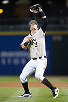 Wake Forest Demon Deacons first baseman Bobby Seymour (3) settles under a pop fly near the mound during the game against the Charlotte 49ers at BB&T BallPark on March 13, 2018 in Charlotte, North Carolina.  The 49ers defeated the Demon Deacons 13-1.  (Brian Westerholt/Four Seam Images)