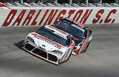 DARLINGTON, SOUTH CAROLINA - MAY 21: Harrison Burton, driver of the #20 Dex Imaging Toyota, leads Jeremy Clements, driver of the #51 Repairables.com Chevrolet, during the NASCAR Xfinity Series Toyota 200 at Darlington Raceway on May 21, 2020 in Darlington, South Carolina. (Photo by Jared C. Tilton/Getty Images)