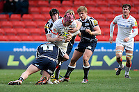 20130310 Copyright onEdition 2013©.Free for editorial use image, please credit: onEdition..Nick Fenton-Wells of Saracens is tackled by Ross Harrison of Sale Sharks and James Gaskell of Sale Sharks during the LV= Cup semi final match between Sale Sharks and Saracens at the Salford City Stadium on Sunday 10th March 2013 (Photo by Rob Munro)..For press contacts contact: Sam Feasey at brandRapport on M: +44 (0)7717 757114 E: SFeasey@brand-rapport.com..If you require a higher resolution image or you have any other onEdition photographic enquiries, please contact onEdition on 0845 900 2 900 or email info@onEdition.com.This image is copyright onEdition 2013©..This image has been supplied by onEdition and must be credited onEdition. The author is asserting his full Moral rights in relation to the publication of this image. Rights for onward transmission of any image or file is not granted or implied. Changing or deleting Copyright information is illegal as specified in the Copyright, Design and Patents Act 1988. If you are in any way unsure of your right to publish this image please contact onEdition on 0845 900 2 900 or email info@onEdition.com