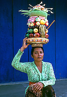 The Images from the Book Journey through Color and Time, women in Bali, Indonesia preparing to go to a temple for offerings