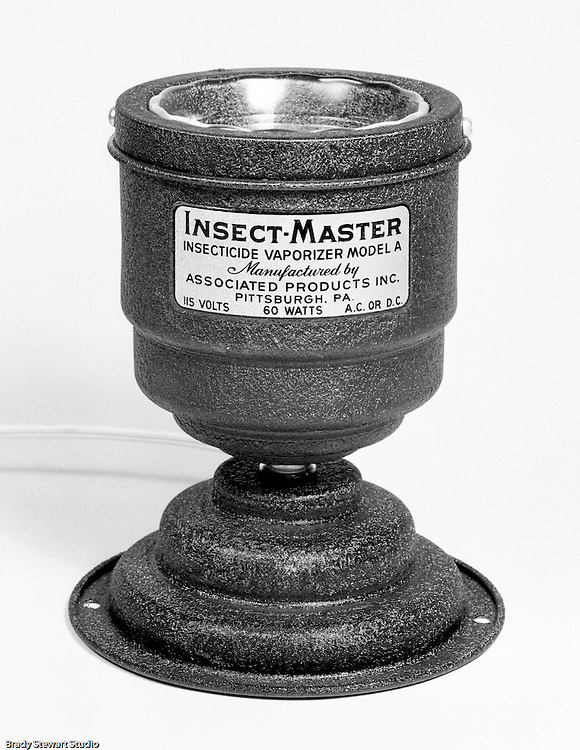 Client: Associated Products Inc. of Pittsburgh<br /> Ad Agency: Independent Sales Representative<br /> Contact: Robert McKenna<br /> Product: Insect-Master Insecticide Vaporizer Model A<br /> Location: Brady Stewart Studio 812 Market Street in Pittsburgh<br /> <br /> Insect-Master was manufactured by Associated Products Inc, Susquehanna Street in Pittsburgh. <br /> Advertisement referenced; To Insect-proof your home, get INSECT-MASTER today! The Most Effective Method Ever Devised for Killing insects.  10-day money-back guarantee.