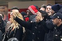 """Esultanza di Mario Balotelli e Robinho Milan.celebration.Milano 20/02/2013 Stadio """"S.Siro"""".Football Calcio UEFA Champions League 2012/13.Milan vs Barcellona.Foto Insidefoto Paolo Nucci."""