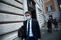 Rome, Italy. 09th Feb, 2021. Matteo Renzi MP, leader of Italia Viva Party leaves the Italian Parliament after meeting the designated Italian Prime Minister - and former President of the European Central Bank -, Mario Draghi. Today is the last day of Mario Draghi's consultations at Palazzo Montecitorio, meeting delegations of the Italian political parties in his attempt to form the new Italian Government.