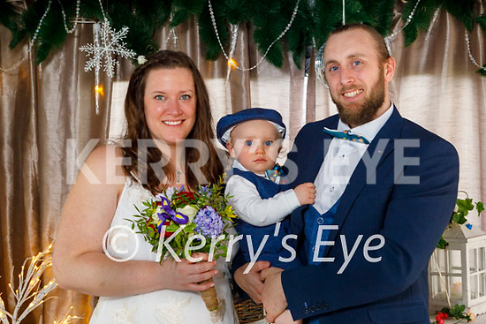 Ceilidh Bailie and Thomas Long who got married on Wednesday March 31st in the Killarney Registry Office, standing with their son Liam Long