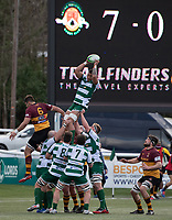 Bobby De Wee of Ealing Trailfinders wins the line out during the Greene King IPA Championship match between Ealing Trailfinders and Ampthill RUFC being played behind closed doors due to the COVID-19 pandemic restrictions at Castle Bar , West Ealing , England  on 13 March 2021. Photo by Alan Stanford / PRiME Media Images