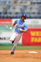 Tor Sehnert (9) of Peters Township High School in McMurray, Pennsylvania of Peters Township High School in McMurray, Pennsylvania runs the bases after hitting a home run while playing for the Kansas City Royals scout team during the East Coast Pro Showcase on August 3, 2016 at George M. Steinbrenner Field in Tampa, Florida.  (Mike Janes/Four Seam Images)