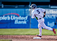 12 June 2021: Vermont Lake Monsters infielder Noah Granet, from Scranton, PA, rounds the bases after hitting a 2-run homer in the first inning against the Westfield Starfires at Centennial Field in Burlington, Vermont. The Lake Monsters defeated the Starfires 4-1 at Centennial Field, in Burlington, Vermont. Mandatory Credit: Ed Wolfstein Photo *** RAW (NEF) Image File Available ***