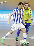 Pescara's Cristian Borruto (l) and Inter FS's Pola during UEFA Futsal Cup 2015/2016 Semifinal match. April 22,2016. (ALTERPHOTOS/Acero)