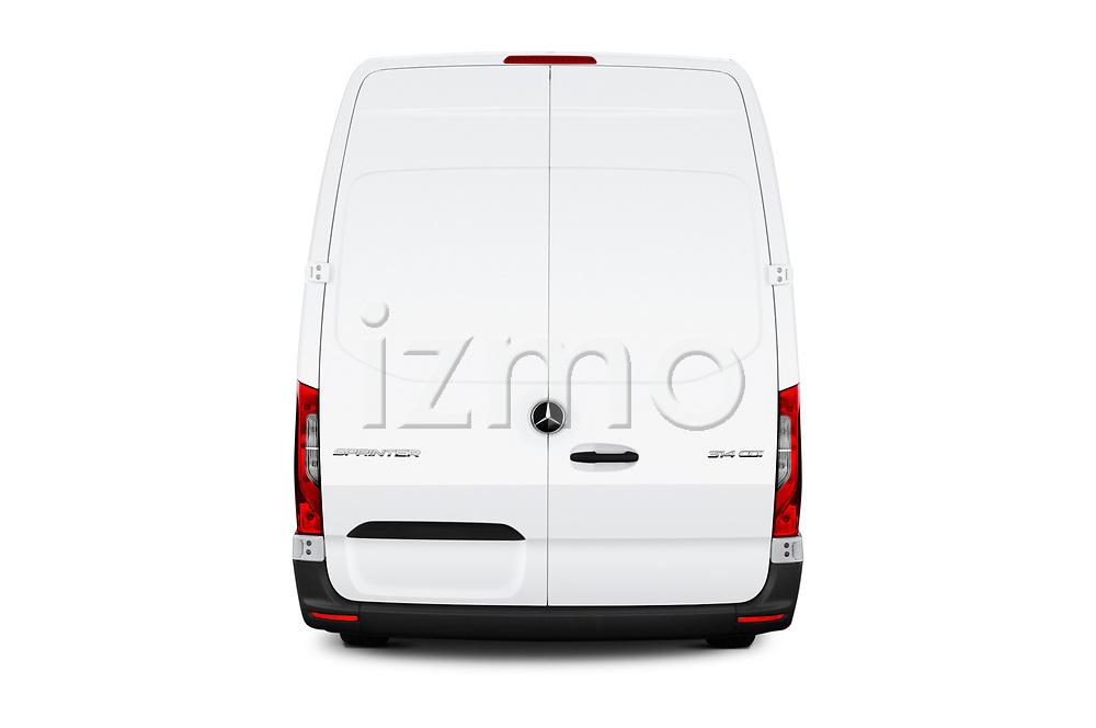 Straight rear view of a 2019 Mercedes Benz Sprinter Cargo Van Base 4 Door Cargo Van stock images