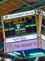 14 December 2013: The seconds tick down to zero on the center ice scoreboard at Gutterson Fieldhouse in Burlington, Vermont. The Catamounts defeated their former ECAC rivals the Saint Lawrence University Saints, 5-1 to notch their 5th straight win in NCAA non-divisional play. Mandatory Credit: Ed Wolfstein Photo *** RAW (NEF) Image File Available ***