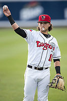Lansing Lugnuts shortstop Bo Bichette (10) warms up before the Midwest League baseball game against the Bowling Green Hot Rods on June 29, 2017 at Cooley Law School Stadium in Lansing, Michigan. Bowling Green defeated Lansing 11-9 in 10 innings. (Andrew Woolley/Four Seam Images)