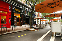 Restaurants along Penn Avenue including Nicky's Thai and Bridges & Bourbon build out outdoor seating amidst the COVID-19 pandemic on Friday July 10, 2020 in Pittsburgh, Pennsylvania. (Photo by Jared Wickerham/Pittsburgh City Paper)