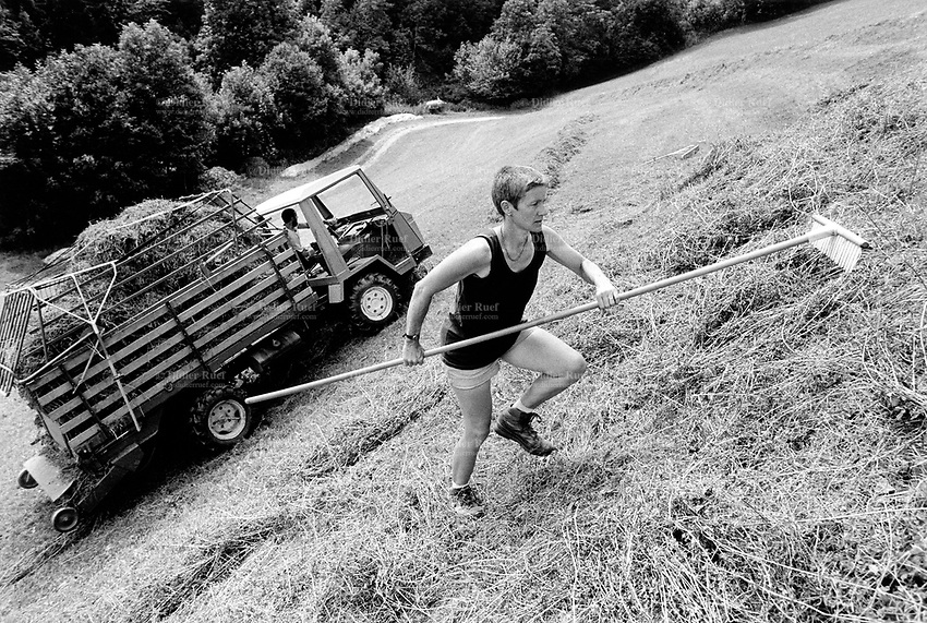 Switzerland. Canton Graubunden. Rumein. Lumnezia valley. A woman, wearing a pair of shorts, is making hay. Manual labor. Labour force. Organic farm. Swiss alpine farmers. Alps mountains peasants.  © 1994 Didier Ruef