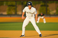 Steven Brooks #1 of the Wake Forest Demon Deacons takes his lead off of first base against the Charlotte 49ers at Gene Hooks Field on March 22, 2011 in Winston-Salem, North Carolina.   Photo by Brian Westerholt / Four Seam Images