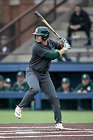 Michigan State Spartans outfielder Bryce Kelley (17) at bat in the NCAA baseball game against the Michigan Wolverines on May 7, 2019 at Ray Fisher Stadium in Ann Arbor, Michigan. Michigan defeated Michigan State 7-0. (Andrew Woolley/Four Seam Images)