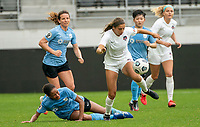 WASHINGTON D.C., ON MARCH 28, 2021 - MARCH 28: Washington, D.C.- March 28: Washington Spirit forward Mariana Speckmaier (20) and Sky Blue FC defender Imani Dorsey (28) during a match between the Washington Spirit and Sky Blue FC at Audi Field, in Washington D.C., on March 28, 2021 during a game between Sky Blue FC and Washington Spirit at Audi Field, in Washington D.C., on March 28, 2021 in Washington D.C., on March 28, 2021.