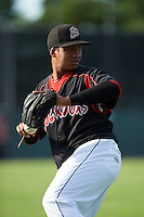 Batavia Muckdogs pitcher Ayron Adames (36) poses for a photo before a game against the Auburn Doubledays July 10, 2015 at Dwyer Stadium in Batavia, New York.  Auburn defeated Batavia 13-1.  (Mike Janes/Four Seam Images)