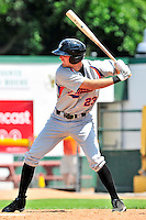 15 July 2010: Aberdeen IronBirds' outfielder Kipp Schutz in action against the Vermont Lake Monsters at Centennial Field in Burlington, Vermont. The Lake Monsters rallied in the bottom of the 9th inning to defeat the IronBirds 7-6 notching their league leading 20th win of the 2010 NY Penn League season. Mandatory Credit: Ed Wolfstein Photo