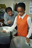 Clyde Dias teaches steel pan at Wellbourne Primare School, Haringey, North London.