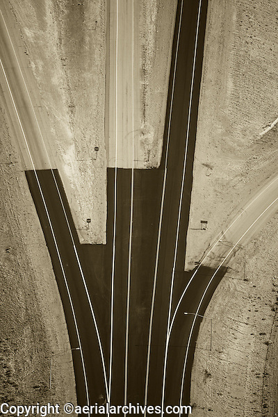 aerial photograph paving progress interstate I-80 freeway, Wyoming