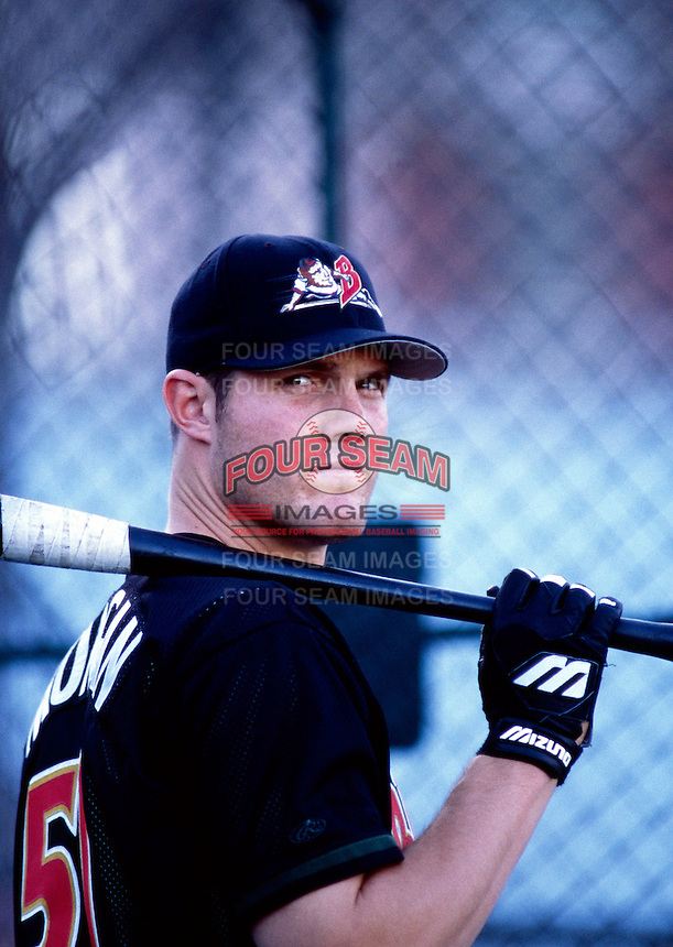 Scott Morgan of the Buffalo Bisons during the 1998 AAA Championship Series against the New Orleans Zephyrs at Cashman Field in Las Vegas, Nevada. (Larry Goren/Four Seam Images)