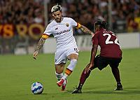 29th August 2021;  Estadio Arechi, Salerno, Campania, Italy;  Serie A Football league, Salernitana versus Roma; Carles Perez of AS Roma takes on Joel Obi of Salernitana