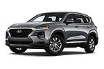 Stock pictures of low aggressive front three quarter view of 2020 Hyundai Santa-FE SE 5 Door SUV Low Aggressive