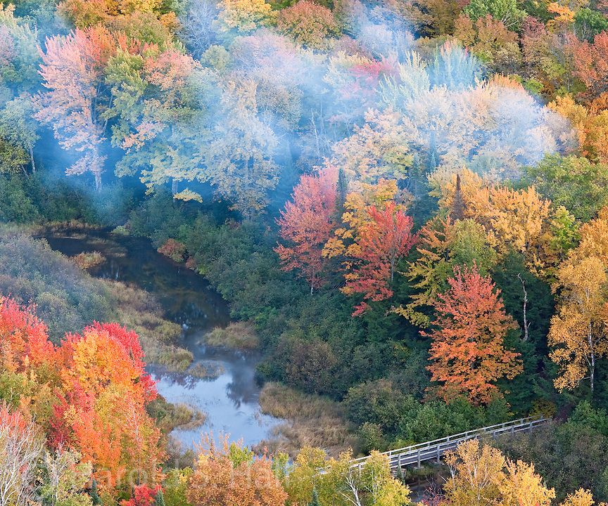 Lake of the Clouds is located within the Porcupine Mountains Wilderness State Park in Michigan and is well known for vivid fall color.