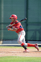 Philadelphia Phillies infielder Anthony Phillips (6) during a minor league spring training game against the Pittsburgh Pirates on March 18, 2014 at the Carpenter Complex in Clearwater, Florida.  (Mike Janes/Four Seam Images)