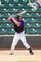 Jacob May (1) of the Winston-Salem Dash at bat against the Myrtle Beach Pelicans at BB&T Ballpark on May 7, 2014 in Winston-Salem, North Carolina.  The Pelicans defeated the Dash 5-4 in 11 innings.  (Brian Westerholt/Four Seam Images)