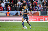 Sean Franklin (5) of the Los Angeles Galaxy during the 1st leg of the Major League Soccer (MLS) Western Conference Semifinals at Red Bull Arena in Harrison, NJ, on October 30, 2011.