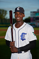 Connecticut Tigers Jeremiah Burks (28) poses for a photo before a game against the Hudson Valley Renegades on August 20, 2018 at Dodd Stadium in Norwich, Connecticut.  Hudson Valley defeated Connecticut 3-1.  (Mike Janes/Four Seam Images)