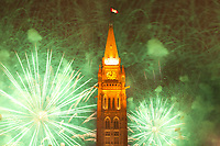 July 1st 2011 File Photo - Ottawa, Ontario, CANADA - Hand Out photo -<br /> Canada Day 2011 fireworks over Peace Tower.<br /> <br /> <br /> Photo credit: National Capital Commission<br /> Crédit photo: Commission de la capitale nationale