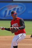 Juan Francisco of the Carolina Mudcats playing third base against  the Huntsville Stars on April 22, 2009 at Five County Stadium in Zebulon, NC