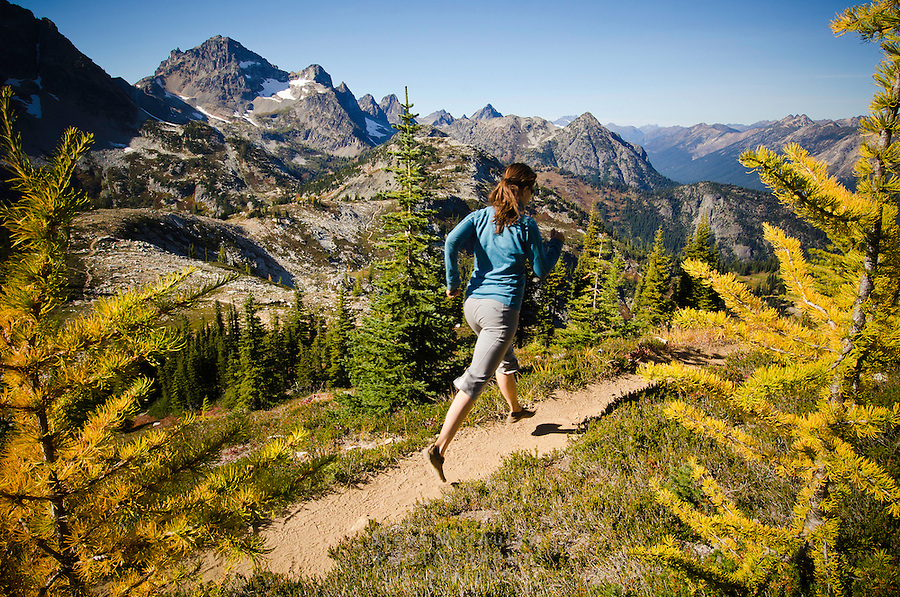 Trail running in early Fall, Maple Pass, North Cascades National Park, WA.