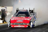Feb. 24, 2011; Pomona, CA, USA;  NHRA funny car driver Bob Tasca III during qualifying for the Winternationals at Auto Club Raceway at Pomona. Mandatory Credit: Mark J. Rebilas-
