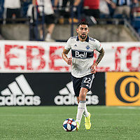 FOXBOROUGH, MA - JULY 18: Erik Godoy #22 looks to pass during a game between Vancouver Whitecaps and New England Revolution at Gillette Stadium on July 18, 2019 in Foxborough, Massachusetts.