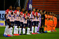 ENVIGADO - COLOMBIA, 26-09-2020: Los jugadores de Envigado F. C. y Atletico Junior  durante partido entre Envigado F. C., y Atletico Junior  de la fecha 10 por la Liga BetPlay DIMAYOR I 2020, en el estadio Polideportivo Sur de la ciudad de Envigado. / The players of Envigado F. C., and Patriotas Boyaca during a match between Envigado F. C., and Atletico Junior of the 10th date  for the BetPlay DIMAYOR Leguaje I 2020 at the Polideportivo Sur stadium in Envigado city. Photo: VizzorImage / Luis Benavides / Cont.