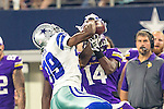 Dallas Cowboys cornerback Brandon Carr (39) and Minnesota Vikings wide receiver Stefon Diggs (14) in action during the pre-season game between the Minnesota Vikings and the Dallas Cowboys at the AT & T stadium in Arlington, Texas. Minnesota defeats the Cowboys 28 to 14.