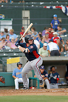Potomac Nationals outfielder catcher Jakson Reetz (12) at bat during a game against the Myrtle Beach Pelicans at Ticketreturn.com Field at Pelicans Ballpark on July 1, 2018 in Myrtle Beach, South Carolina. Myrtle Beach defeated Potomac 6-1. (Robert Gurganus/Four Seam Images)