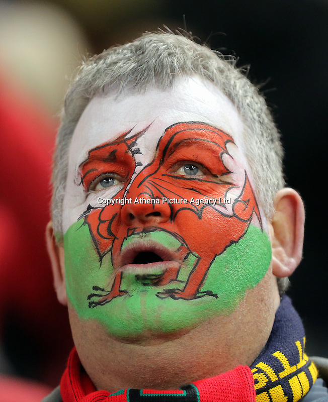 A Wales supporter during the RBS 6 Nations Championship rugby game between Wales and Scotland at the Principality Stadium, Cardiff, Wales, UK Saturday 13 February 2016
