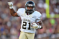 Idaho running back Kristoffer Olugbode (21) rushes with the ball during first half of an NCAA Football game, Saturday, October 04, 2014 in San Marcos, Tex. Texas State leads Idaho 21-3 at the halftime(Mo Khursheed/TFV Media via AP Images)