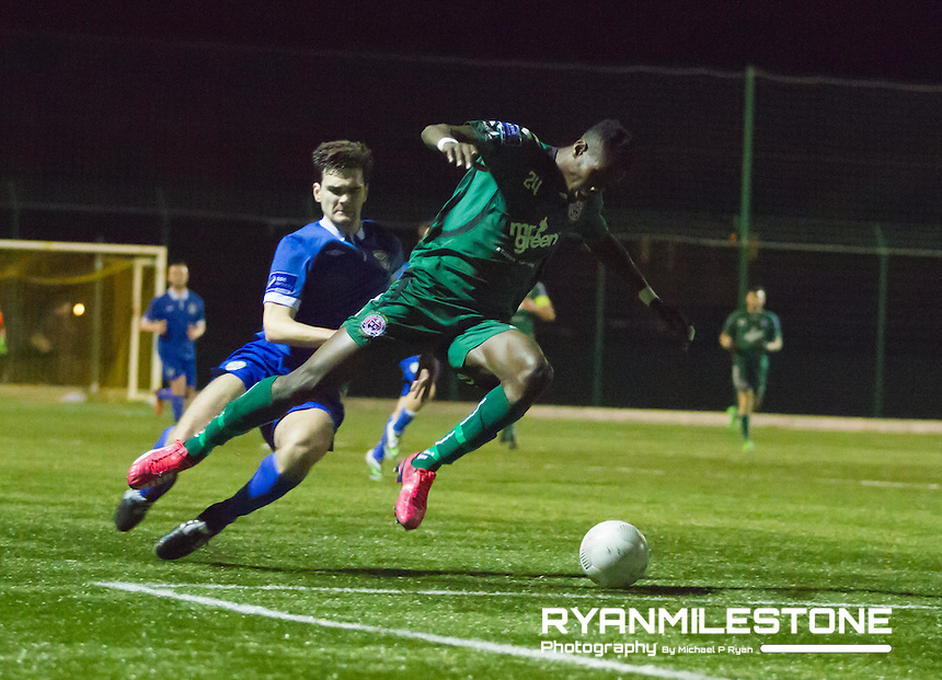 Cabinteeley v Bohemian FC<br /> Pre Season Friendly<br /> Ismahil Akinade (Bohemian FC) Oscar Brennan (Cabinteely FC)
